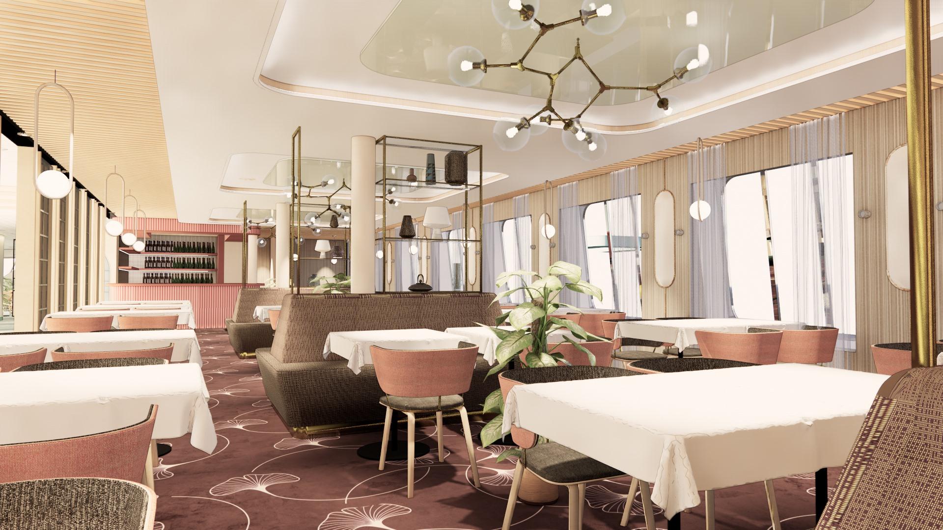 Havainnekuva Raumalla rakennettavan Tallinkin MyStar-aluksen ravintolasta.