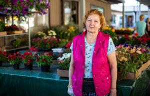 Aime myy Keskustorilla kukkia. Hänen mukaansa suomalaiset ostavat erityisesti perennoja.