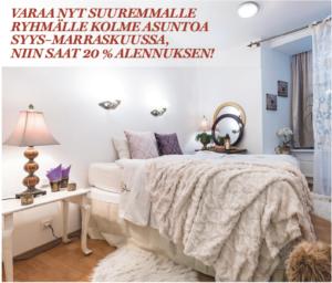 Korkeatasoisissa asunnoissa on 1–3 makuuhuonetta.