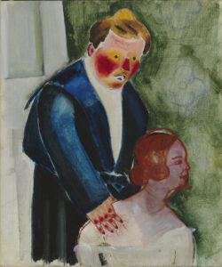 Greta Hällfors-Sipilä oli avantgardisti, jonka intensiivisissä töissä näkyivät muun muassa ekspressionismin ja kubismin vaikutteet. Sinipukuinen ihailija vuodelta 1922.