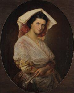 Julie Hagen Schwarz (1824–1902) nousi Venäjän tunnustetuimmaksi naistaiteilijaksi, jolle Pietarin keisarillinen taideakatemia myönsi akateemikon tittelin. Rouva M italialaispuvussa, 1853.