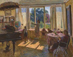 Impressionistisia ja elämänmyönteisiä teoksia maalannut Linda Kits-Mägi (1916–1990) pysyi tyylilleen uskollisena myös neuvostoaikana. Interiööri,1957.