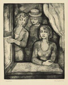 Mietteliäitä naisia usein kuvanneen Aino Bachin (1901–1980) suosima syväpainotekniikka oli maalauksellinen ja rakeinen akvatinta. Ikkunalla, 1938.