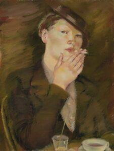 Lydia Mein tupakoiva nainen (Naine sigaretiga) 1920-luvulta katsoo näyttelykävijää suoraan ja häpeilemättä.