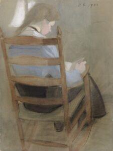 Helene Schjerfbeckin sekatekniikalla tehty Istuva tyttö on vuodelta 1904.